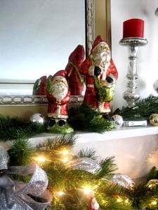 Foil Santas and mercury glass